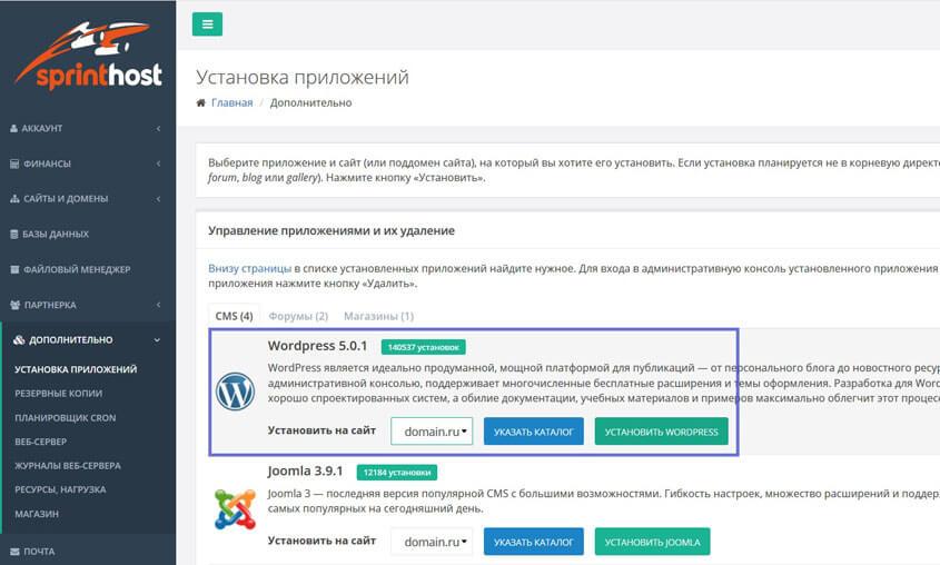 Установка WordPress в панели управления хостингом
